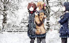 Ikazuchi KanColle, Akatsuki KanColle, Inazuma KanColle, white, snow, Hibiki KanColle
