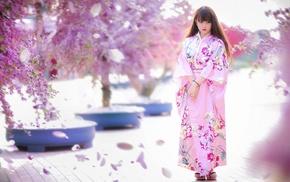 model, geisha, looking away, girl outdoors, street, Japanese clothes