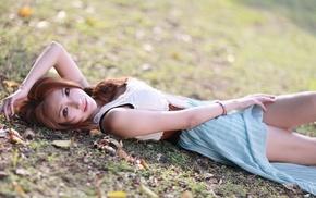 field, girl, dress, lying on back, brunette, girl outdoors