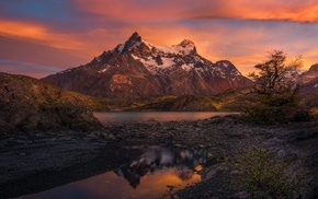 sunrise, Patagonia, clouds, trees, snowy peak, morning