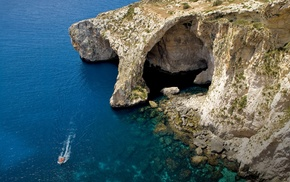 beach, water, cliff, cave, boat, blue