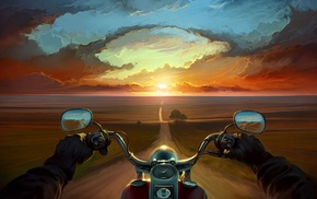 sunset, painting, horizon, point of view, landscape