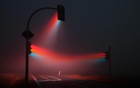 mist, traffic lights, night