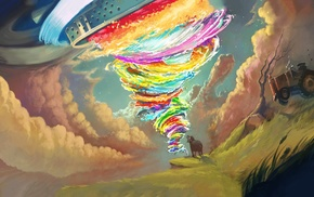tornado, colorful, psychedelic, tractors, artwork
