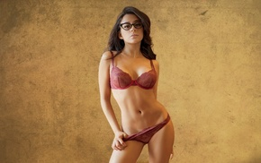Jass Reyes, panties, brunette, lingerie, glasses, girl