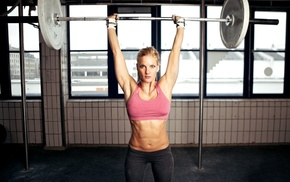 armpits, sports bra, sports, girl, barbell, fitness model
