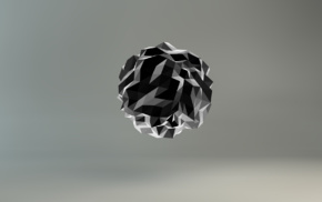 digital art, low poly, sphere, monochrome, gray background, 3D