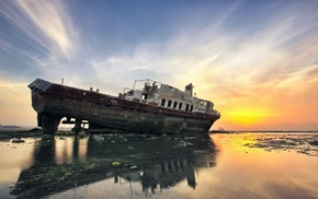 sea, reflection, shipwreck, landscape, ship, clouds
