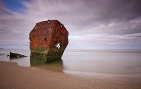 horizon, long exposure, sea, clouds, beach, rust