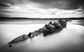 ship, long exposure, landscape, sea, rust, nature