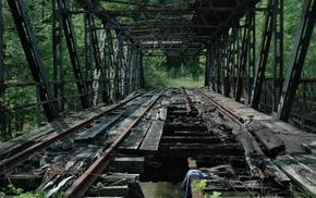 trees, rust, construction, metal, bridge, ruin