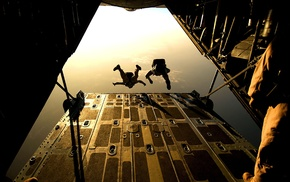 airplane, aerial view, parachutes, rear view, military, aircraft