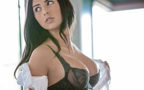 boobs, bra, long hair, model, girl, blouses