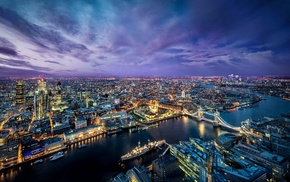 cityscape, night, river, bridge, London Bridge, city