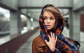 scarf, long hair, Georgiy Chernyadyev, Anastasia Scheglova, hazel eyes, rings