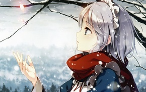 anime girls, winter, anime, Izayoi Sakuya, scarf, Touhou