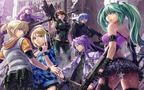 anime girls, Megurine Luka, gun, Kagamine Rin, Vocaloid, Hatsune Miku