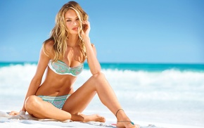 blonde, beach, bikini, Candice Swanepoel, model, girl