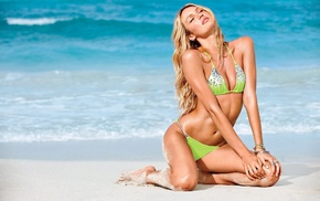 blonde, beach, girl, Candice Swanepoel, bikini, model