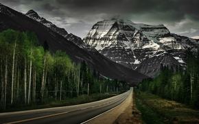 road, landscape, mountain, snow, nature