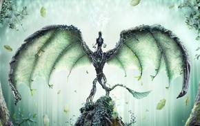 leaves, fantasy art, digital art, dragon