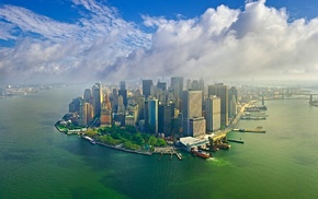 skyscraper, Manhattan, aerial view, water, clouds, landscape