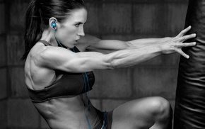 headphones, working out, selective coloring, Pauline Nordin, fitness model