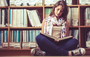 shelves, books, jeans, brunette, tank top, library