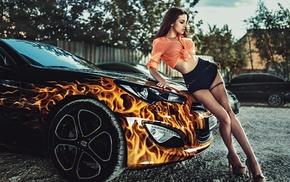 model, girl, girl outdoors, Georgiy Chernyadyev, girl with cars, Alla Berger