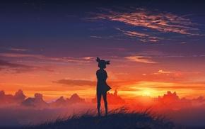 anime girls, sunset, Everlasting Summer, Lena character, anime