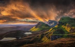 clouds, sunrise, grass, Scotland, nature, UK