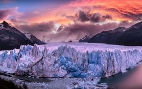 Argentina, clouds, snowy peak, sea, landscape, Perito Moreno