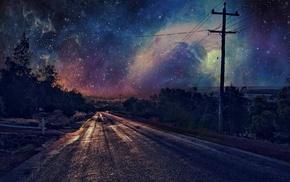 stars, night, utility pole, road