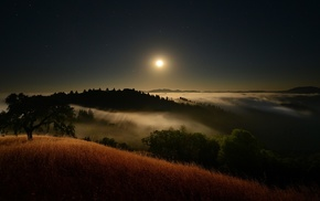 moonlight, landscape, starry night, clouds, mist, nature