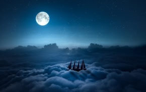 clouds, night, ship, digital art, moon