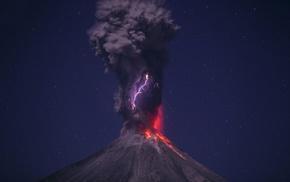 nature, lightning, volcano