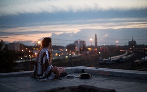 rooftops, people, city, girl
