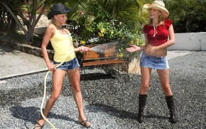 Carli Banks, girl outdoors, group of girl, water, jean shorts, leather boots