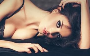 lying down, open mouth, hands on head, brunette, model, long hair