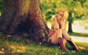girl, blonde, filter