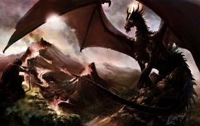 dragon, digital art, fantasy art, medieval, drawing