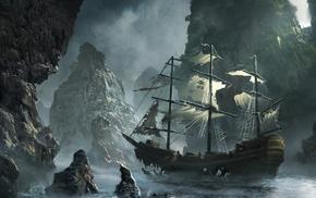 sea, ship, rock, boat, drawing, digital art