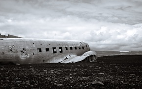 Iceland, wreck, beach, airplane
