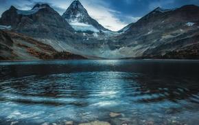 landscape, water, mountain, lake, snowy peak, forest