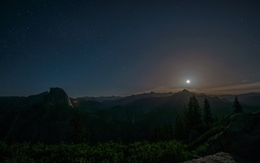 California, Yosemite Valley, moon, forest, mountain, Yosemite National Park