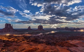 rock formation, landscape, Monument Valley, erosion, lightning, clouds