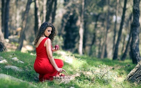 baskets, girl, girl outdoors, red dress, apples, curly hair