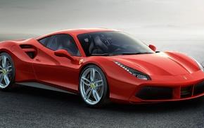 Ferrari 488 GTB, red cars, car