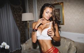 underwear, Aleksandr Mavrin, cleavage, red lingerie, lingerie, Viki Odintcova