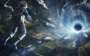 space, black holes, astronaut, lens flare, Earth
